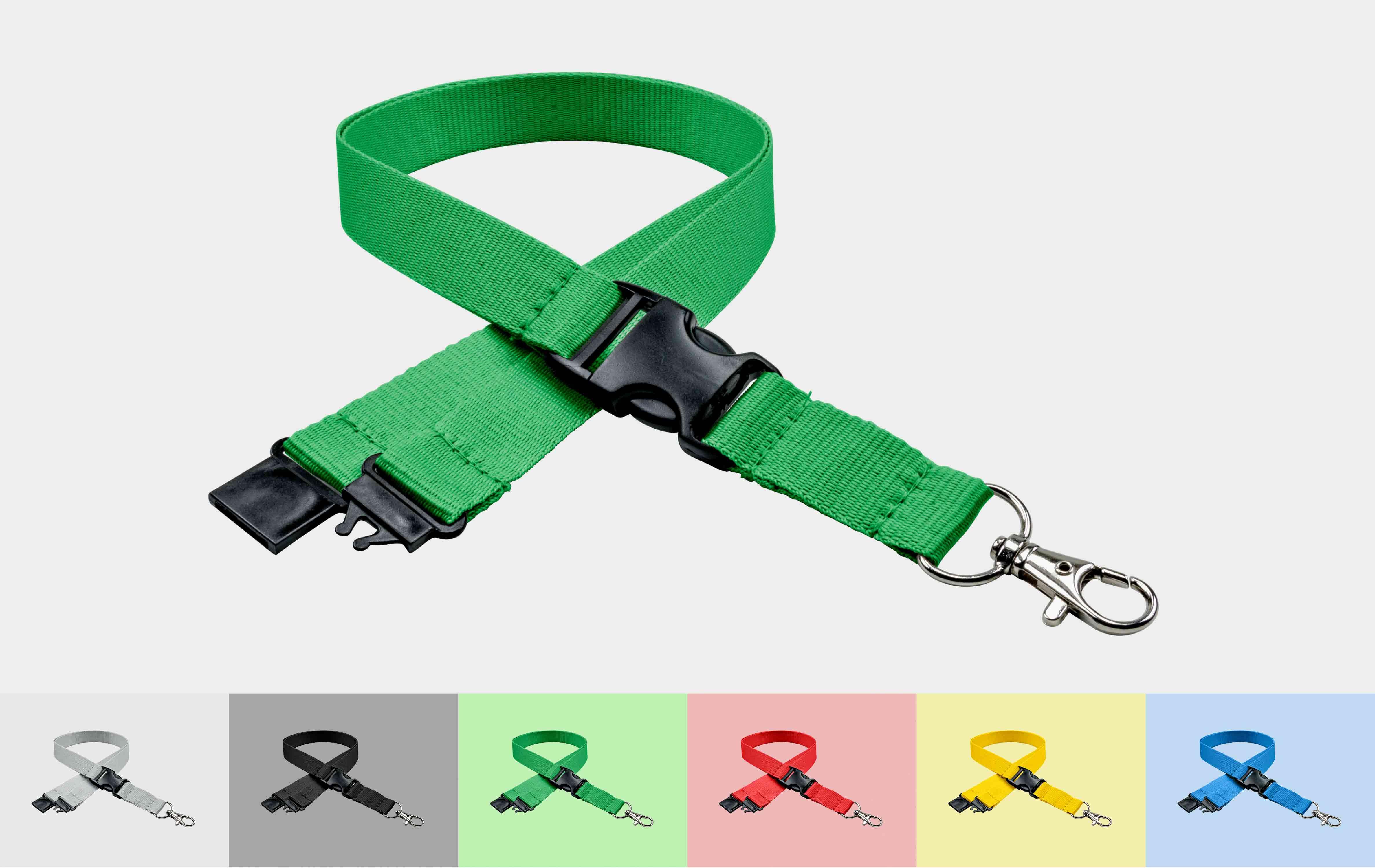 10 Stück Schlüsselbänder 20 mm, easy going Haken, Sicherheitsverschluss, Schiebeschnalle