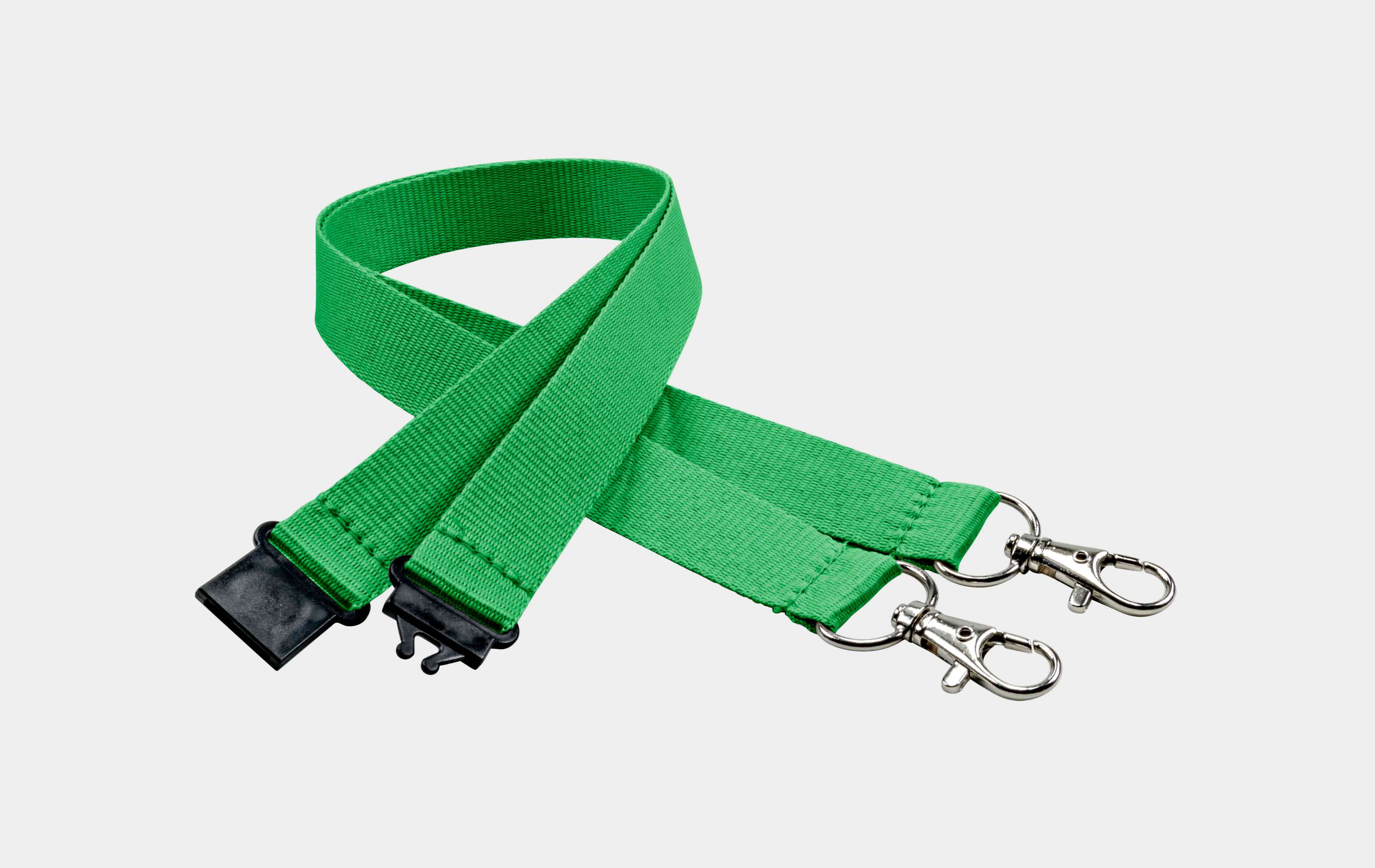 10 Stück Schlüsselbänder 20 mm, 2x easy going Haken, Sicherheitsverschluss, Grün