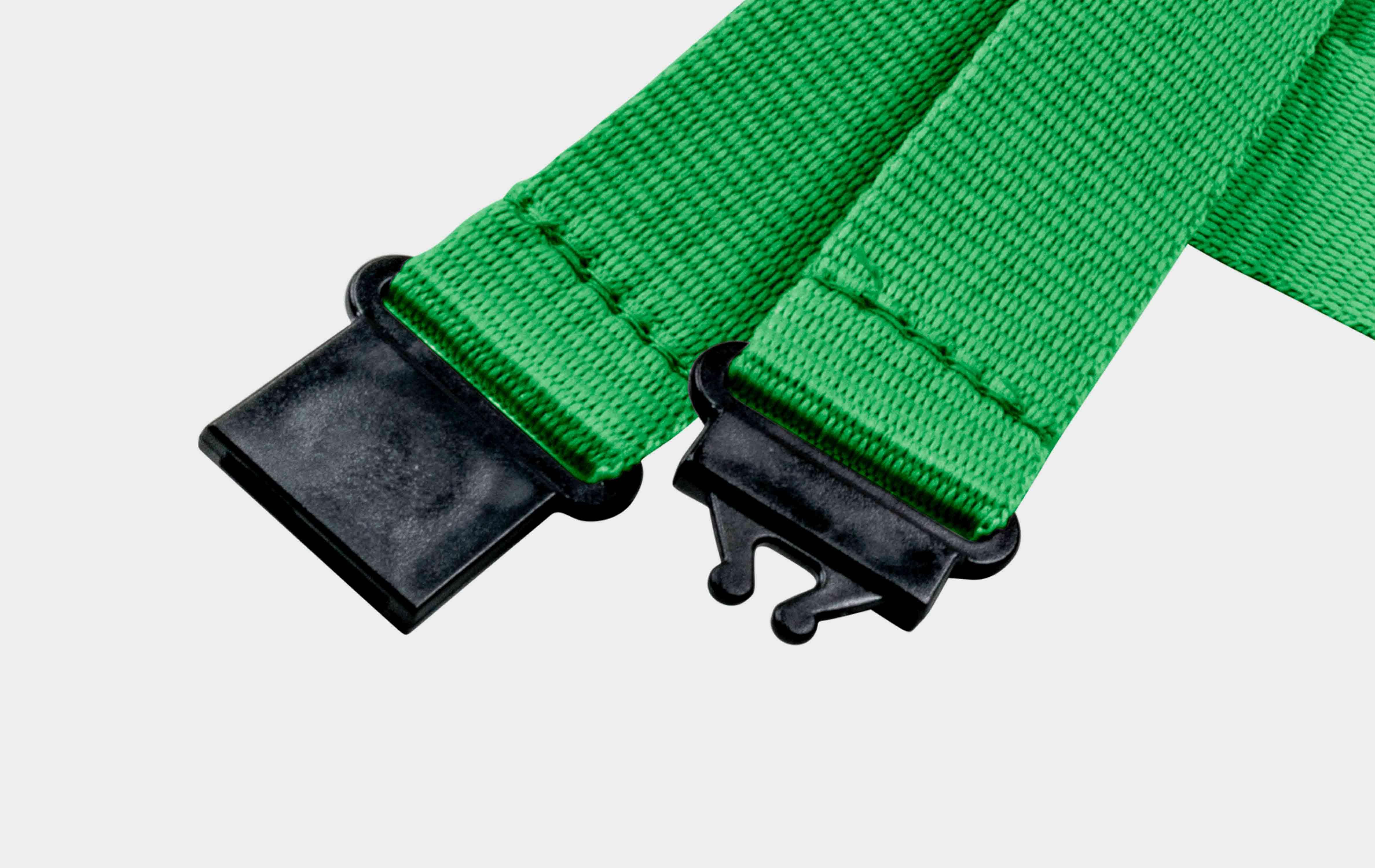 10 Stück Schlüsselbänder 20 mm, 2x easy going Haken, Sicherheitsverschluss, Schiebeschnalle, Grün