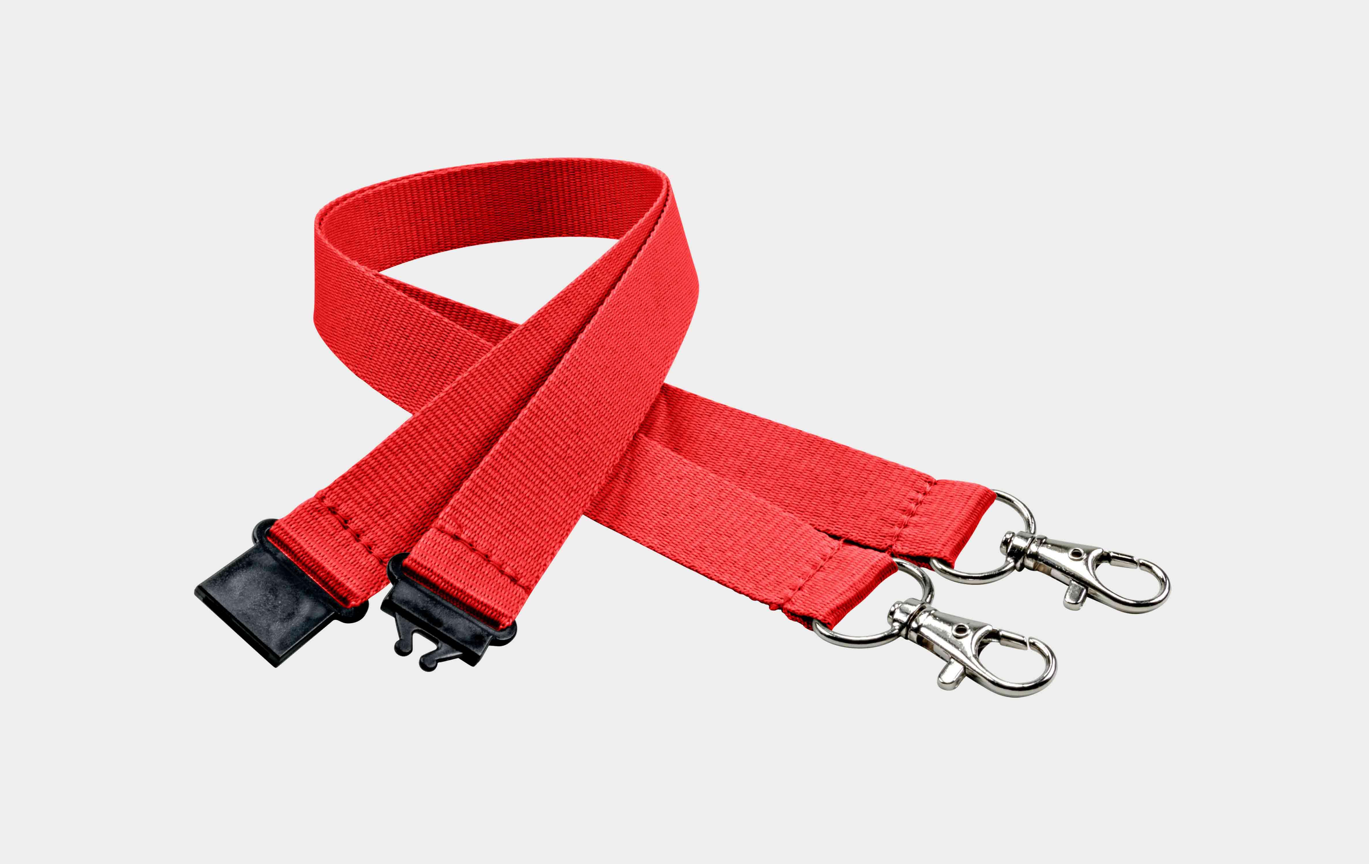 10 Stück Schlüsselbänder 20 mm, 2x easy going Haken, Sicherheitsverschluss, Rot