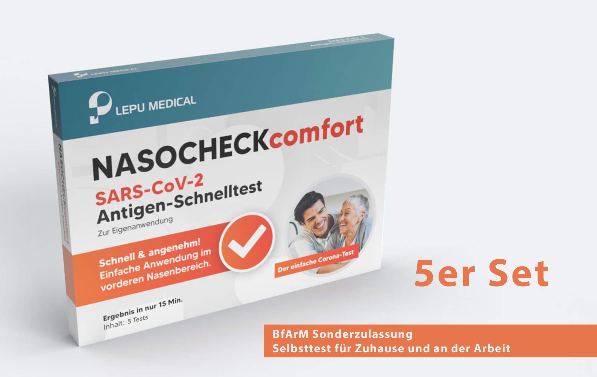 LEPU NASOCHECKcomfort Corona Antigen-Selbsttest, 5er Set