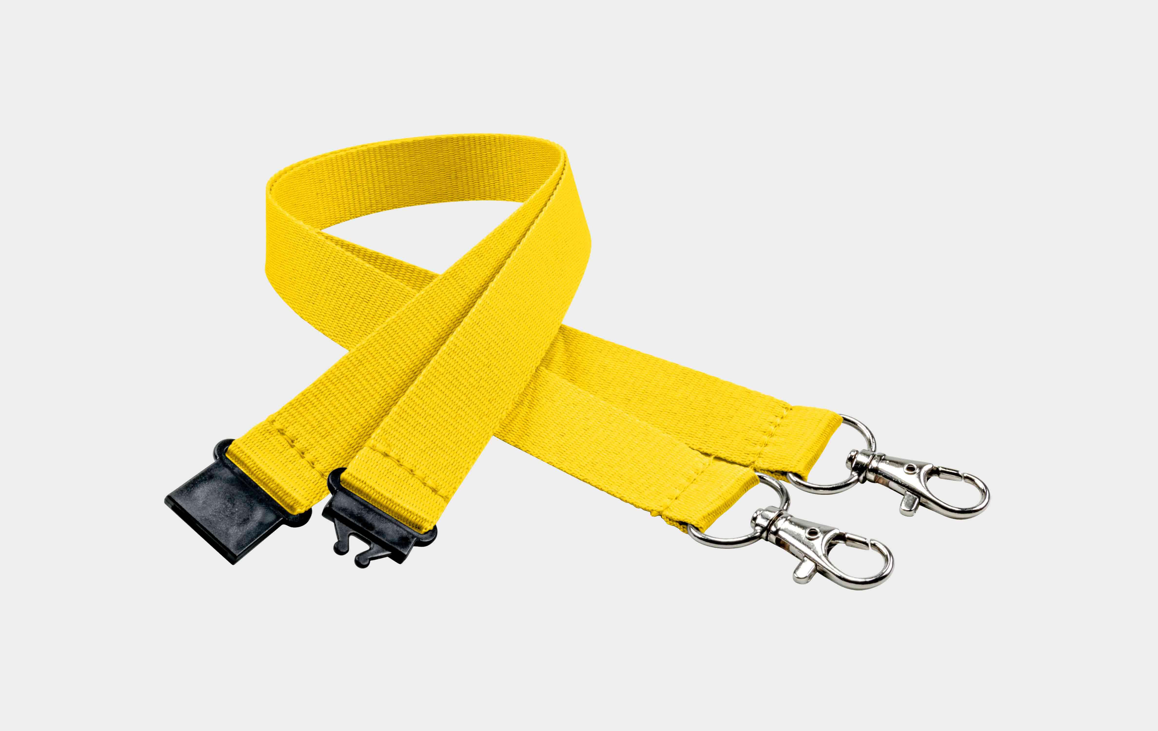 10 Stück Schlüsselbänder 20 mm, 2x easy going Haken, Sicherheitsverschluss, Gelb