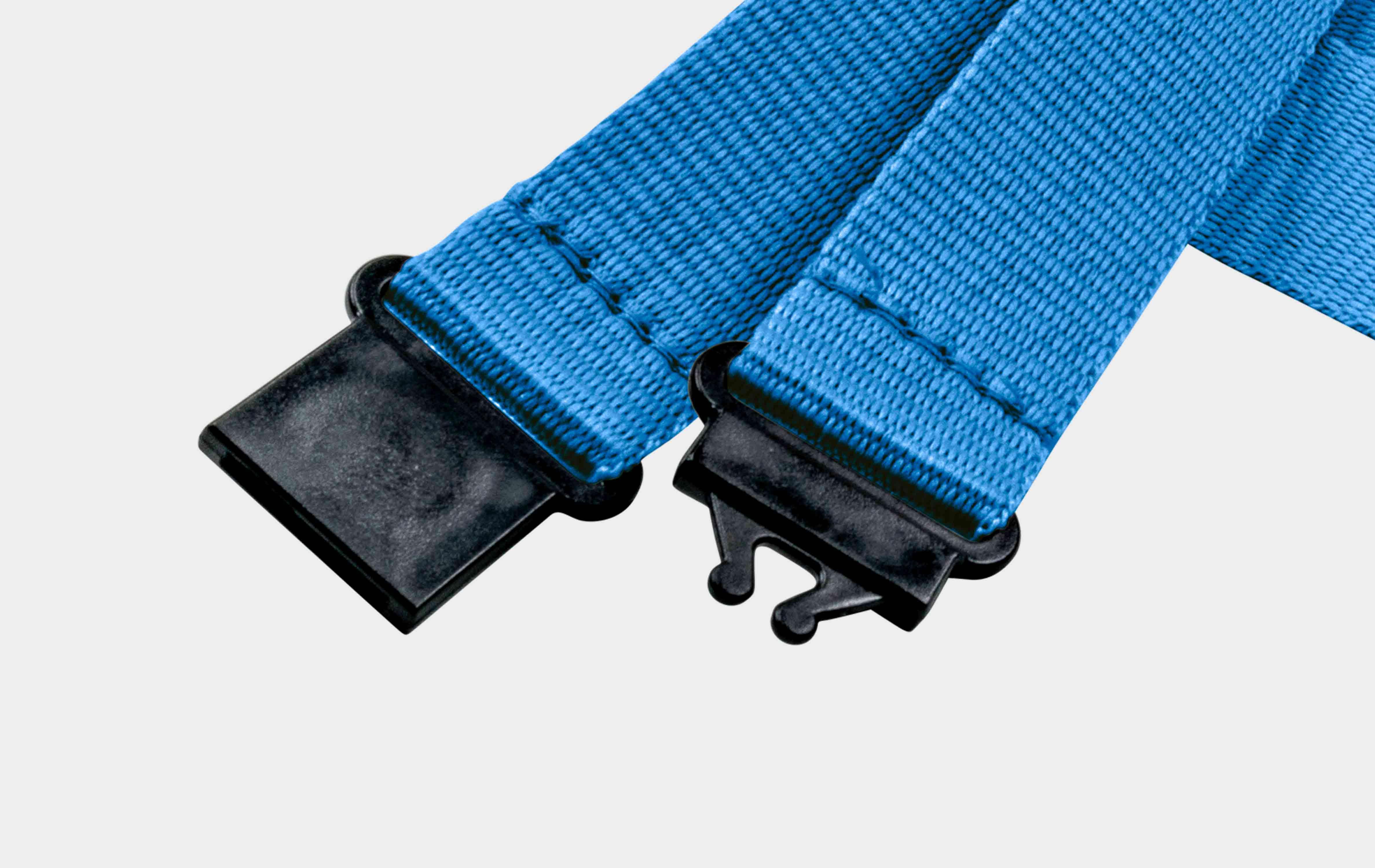 10 Stück Schlüsselbänder 20 mm, easy going Haken, Sicherheitsverschluss, Blau