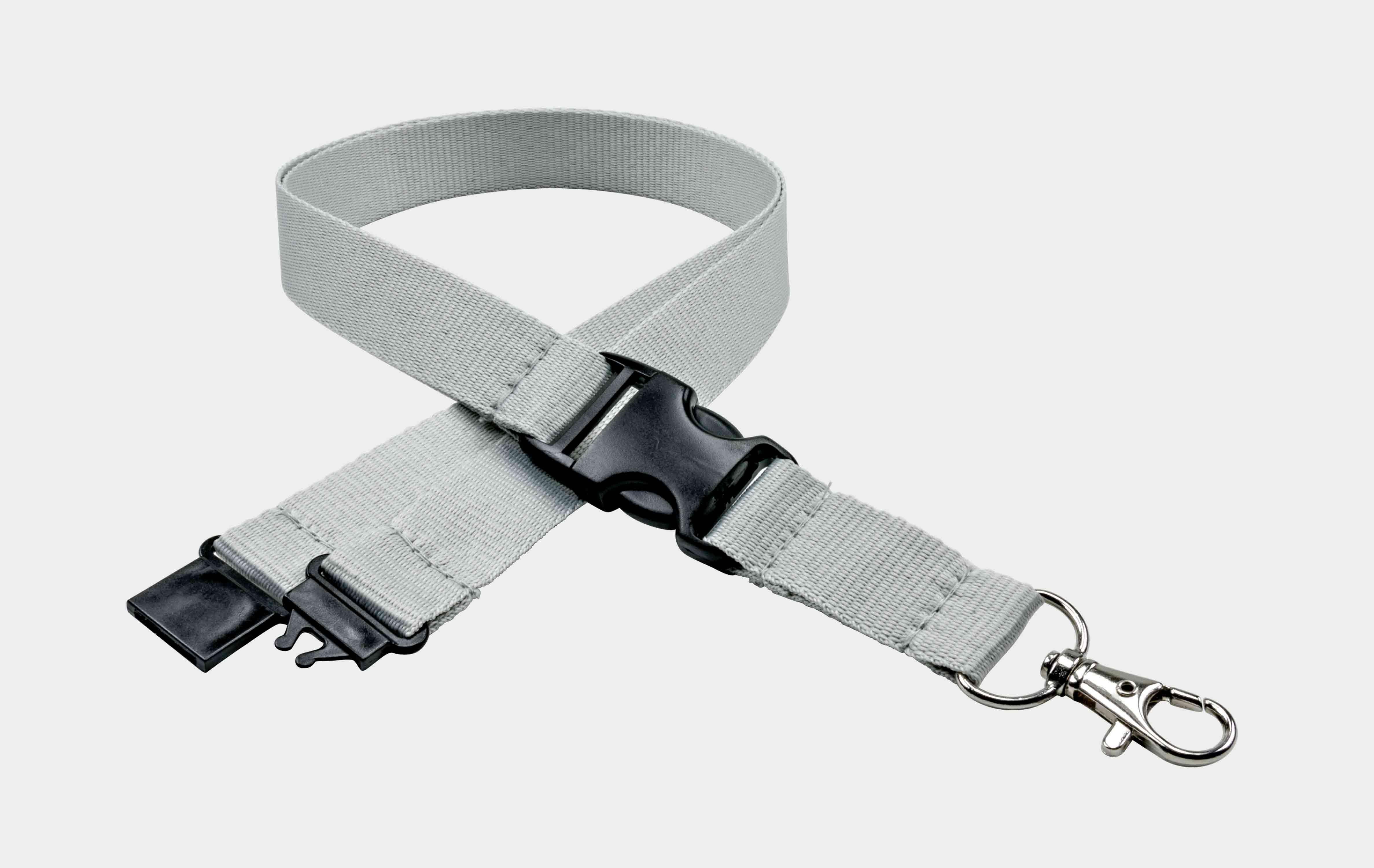 10 Stück Schlüsselbänder 20 mm, 2x easy going Haken, Sicherheitsverschluss, Schiebeschnalle, Grau